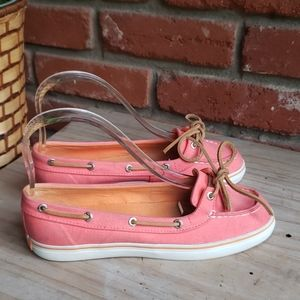 Sperry Top Sider Women Pink Canvas Boat Shoe 6.5